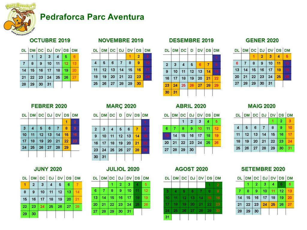 Horaris i Calendari de Pedraforca Parc Aventura. Tirolines a prop de Barcelona. Parc de Palomera a Saldes Berguedpa